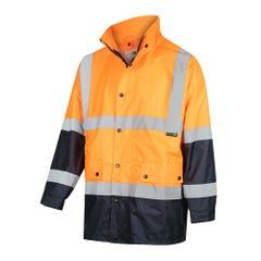 Workit Hi-Vis 2 Tone Waterproof Taped Rain Jacket - Orange / Navy