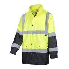 Workit Hi-Vis 2 Tone Waterproof Taped Rain Jacket - Yellow / Navy