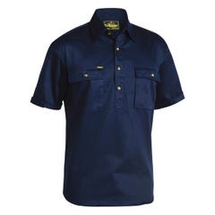 Bisley Closed Front Cotton Drill Shirt - Short Sleeve - Navy