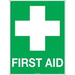 Accumax Safety Sign Metal Uniform First Aid 600 x 450mm