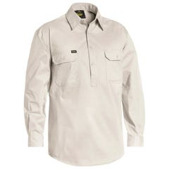 Bisley Closed Front Cotton Light Weight Drill Shirt - Long Sleeve - Sand