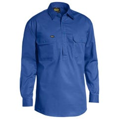 Bisley Closed Front Cotton Light Weight Drill Shirt - Long Sleeve - Royal