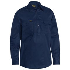 Bisley Closed Front Cotton Light Weight Drill Shirt - Long Sleeve - Navy