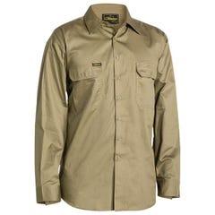 Bisley Cool Lightweight Drill Shirt - Long Sleeve - Khaki