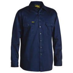 Bisley Cool Lightweight Drill Shirt - Long Sleeve - Navy