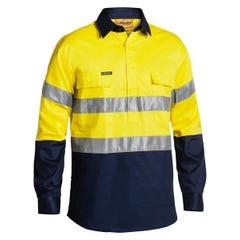 Bisley 2 Tone Closed Front Hi Vis Drill Shirt 3M Reflective Tape - Long Sleeve - Yellow / Navy