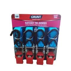 Grunt Ratchet Tie Down Straps 25mm x 5m (4 Pack)