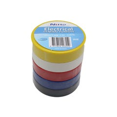 Nitto Assorted PVC Electrical Insulation Tape 18mm x 20m (Qty x 5)