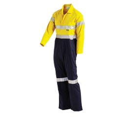 Workit Hi-Vis 2-Tone Lightweight Taped Coverall with Nylon Press Studs - Yellow / Navy
