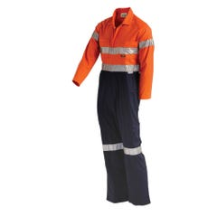 Workit Hi-Vis 2-Tone Lightweight Taped Coverall with Nylon Press Studs - Orange / Navy