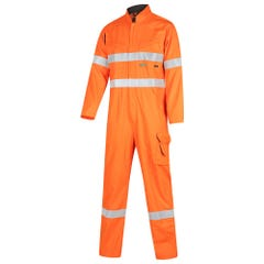 Workit Hi-Vis 2-Tone Tropical Lightweight Taped Coverall with Zip Closure - Orange