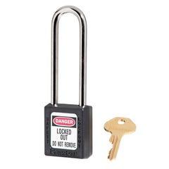 Master Lock  Zenex Thermoplastic Safety Padlocks Extra Length Shackle Black 76m x 6mm