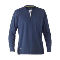 Bisley Flex & Move Cotton Rich Henley Long Sleeve Tee - Blue Marle