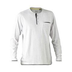Bisley Flex & Move Cotton Rich Henley Long Sleeve Tee - Grey Marle