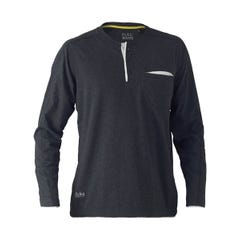 Bisley Flex & Move Cotton Rich Henley Long Sleeve Tee - Charcoal Marle