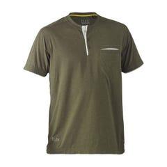 Bisley Flex & Move Cotton Rich Henley Short Sleeve Tee - Green Marle