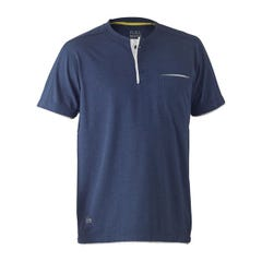 Bisley Flex & Move Cotton Rich Henley Short Sleeve Tee - Blue Marle