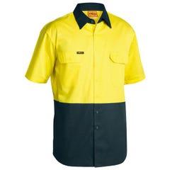 Bisley 2 Tone Cool Lightweight Drill Shirt - Short Sleeve - Yellow/Bottle