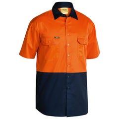 Bisley 2 Tone Cool Lightweight Drill Shirt - Short Sleeve - Orange/Navy