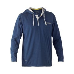 Bisley Flex & Move Cotton Rich Hoodie Long Sleeve Tee - Blue Marle