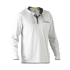 Bisley Flex & Move Cotton Rich Hoodie Long Sleeve Tee - Grey Marle
