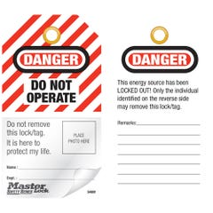 "Master Lock Self-Laminating Photo Identification Tags - ""Do Not Operate"" Self Laminating Photo tags (Qty x 12)"