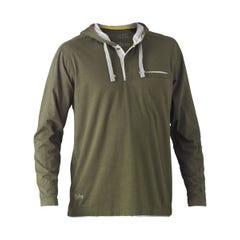 Bisley Flex & Move Cotton Rich Hoodie Long Sleeve Tee - Green Marle