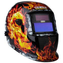 Cigweld WeldSkill Auto-Darkening Helmet - Flaming Skull