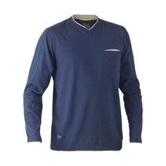 Bisley Flex & Move Cotton Rich V Neck Long Sleeve Tee - Blue Marle