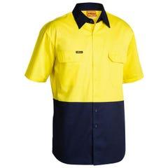 Bisley 2 Tone Cool Lightweight Drill Shirt - Short Sleeve - Yellow/Navy