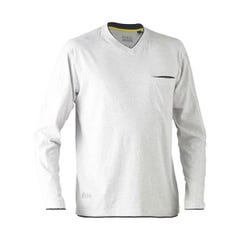 Bisley Flex & Move Cotton Rich V Neck Long Sleeve Tee - Grey Marle