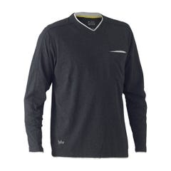 Bisley Flex & Move Cotton Rich V Neck Long Sleeve Tee - Charcoal Marle