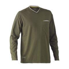 Bisley Flex & Move Cotton Rich V Neck Long Sleeve Tee - Green Marle