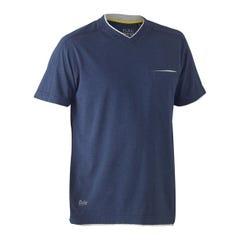 Bisley Flex & Move Cotton Rich V Neck Short Sleeve Tee - Blue Marle