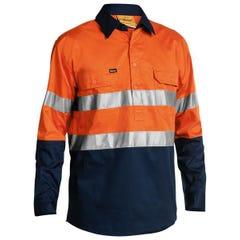 Bisley 2 Tone Hi Vis Cool Lightweight Closed Front Shirt 3M Reflective Tape - Long Sleeve - Orange / Navy