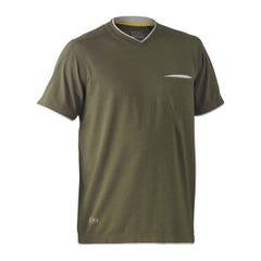 Bisley Flex & Move Cotton Rich V Neck Short Sleeve Tee - Green Marle