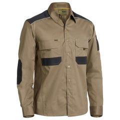 Bisley Flex & Move Mechanical Stretch Shirt - Long Sleeve - Khaki