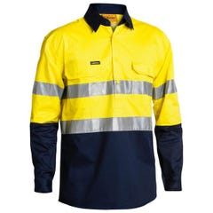 Bisley 2 Tone Hi Vis Cool Lightweight Closed Front Shirt 3M Reflective Tape - Long Sleeve - Yellow / Navy