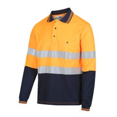 Workit Long Sleeve Poly Cotton Taped Polo Shirt - Two Tone - Orange / Navy