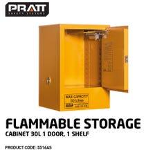 Pratt Flammable Storage Cabinet 30L 1 Door, 1 Shelf