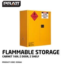 Pratt Flammable Storage Cabinet 160L 2 Door, 2 Shelf