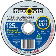 Flexovit Cut-off Wheel Extra Premium Type 41 AO 125mm x 2.5mm x 22.23mm