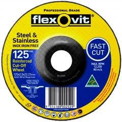 Flexovit Cut-off Wheel Mega Inox Metal premium- Ultra Thin 125mm x 2.5mm x 22.23mm