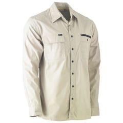 Bisley Flex & Move Utility Work Shirt - Long Sleeve - Stone