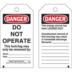 Brady Do Not Operate Energy Source Lockout Tagout Tags (Qty x 25)