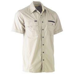 Bisley Flex & Move Utility Work Shirt - Short Sleeve - Stone