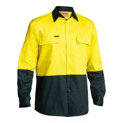 Bisley 2 Tone Hi Vis Drill Shirt - Long Sleeve - Yellow / Bottle