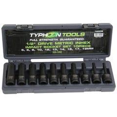 "Typhoon 1/2"" Drive 10 PCE In-Hex Metric Impact Socket set"