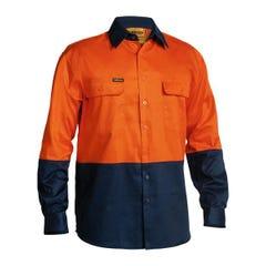 Bisley 2 Tone Hi Vis Drill Shirt - Long Sleeve - Orange / Navy