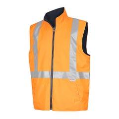 Workit Hi-Vis Reversible Vest with Reflective Tape - Orange / Navy
